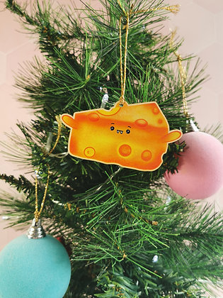 Wooden Christmas cheese decoration