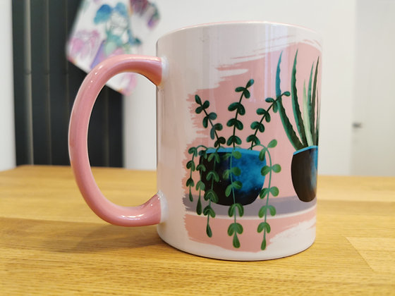 Pink house plant coffee mug