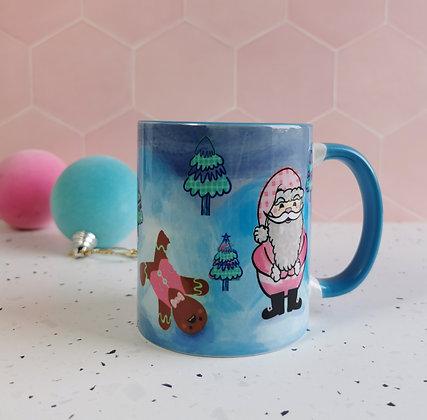 Gingerbread man and Father Christmas mug
