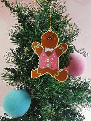 Bitten gingerbread wooden Christmas decoration