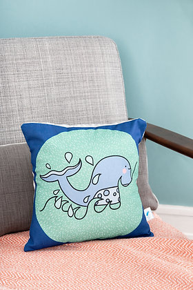Whale cushion for sea life kids bedroom