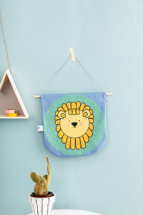 SECONDS Fabric lion wall hanging
