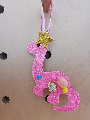 Pink dinosaur glitter decoration