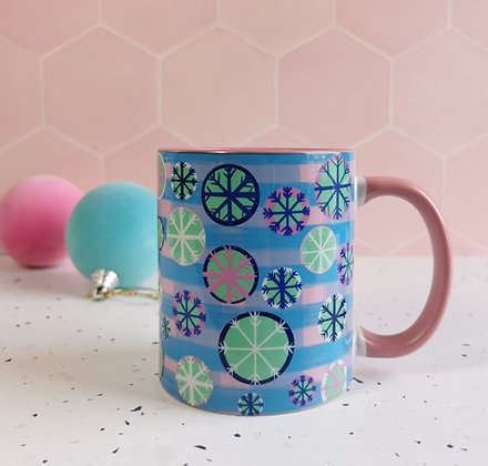Snowflake festive Winter Christmas mug in pink and blue