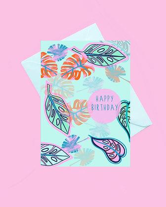 Botanical happy birthday card