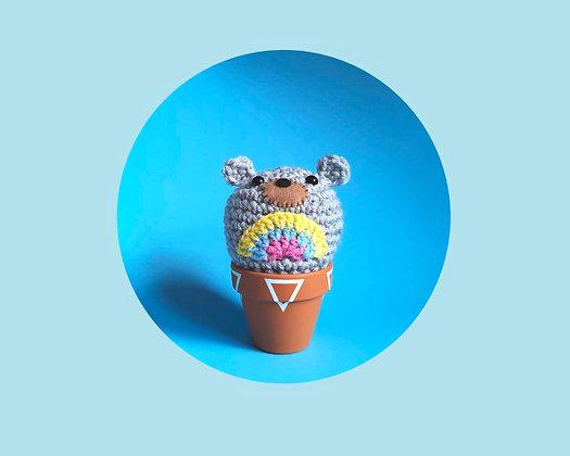 Crochet bear in a pot
