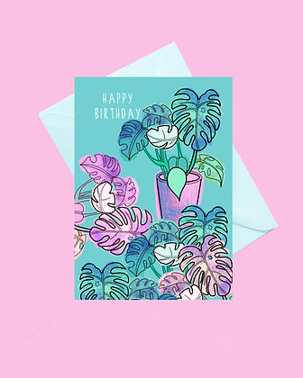 Monstera plant happy birthday card