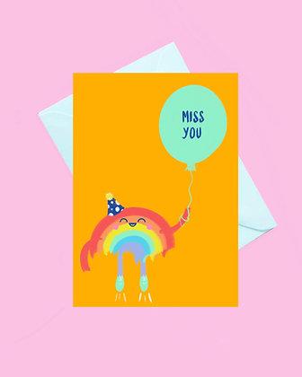 Rainbow miss you greeting card
