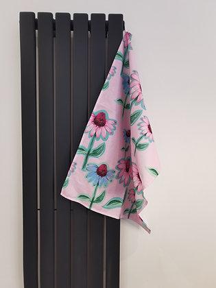 Pastel pink flower tea towel