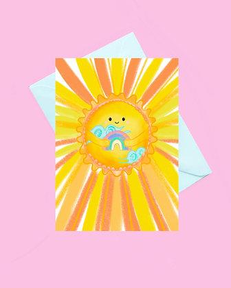 Sunshine rainbow blank greeting card