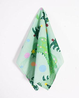 SECONDS dinosaur Christmas dish cloth