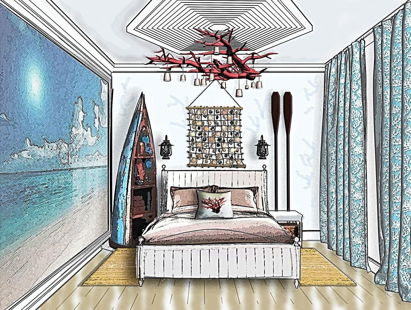 3D Скетч. Спальня в морском стиле