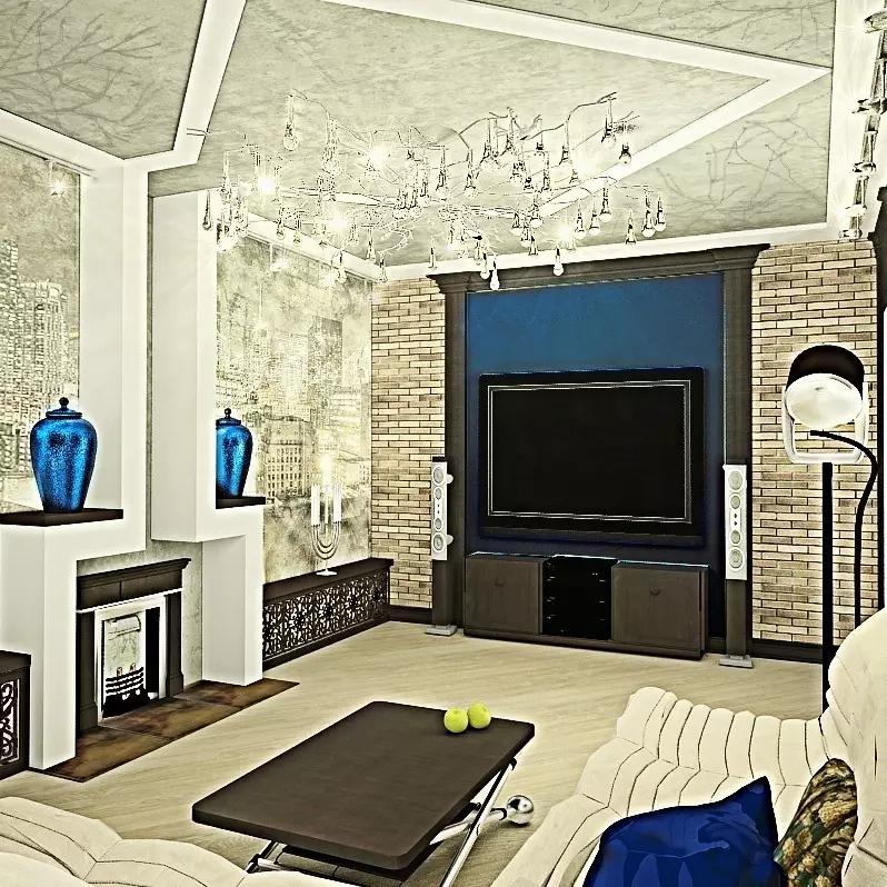 3D визуализация. Гостиная холостяка.