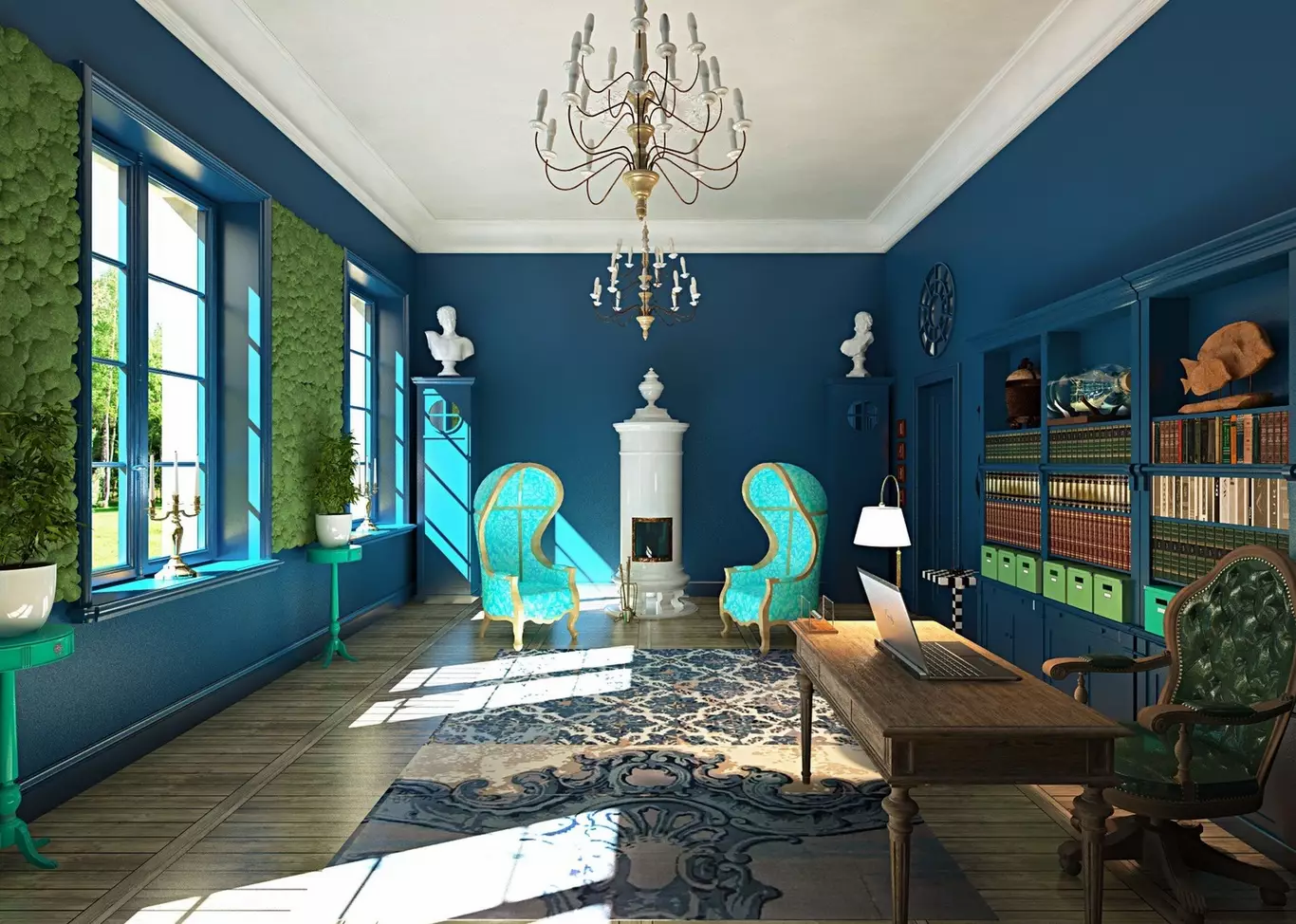 3D визуализация. Синий кабинет с керамической печью.