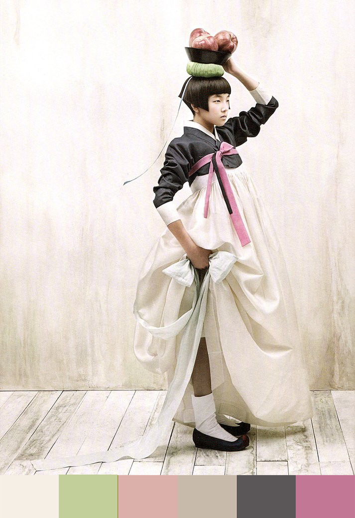 Women dressed in traditional hanbok attire appear chaste, but not devoid of sensuality.