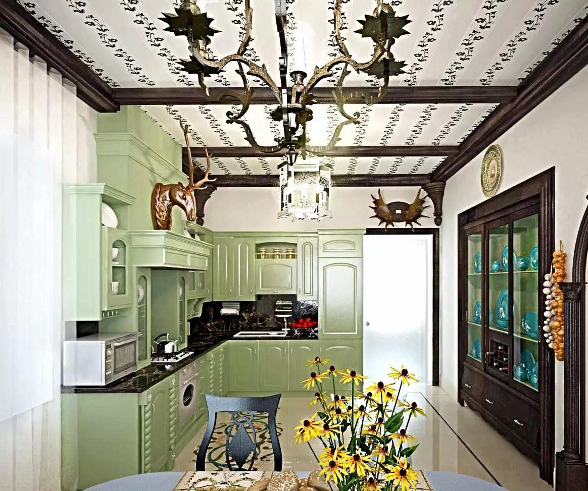 3D визуализация. Классическая, белая кухня