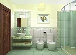 3D визуализация. Зеленый санузел
