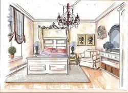 3D Скетч. Спальня в стиле кантри