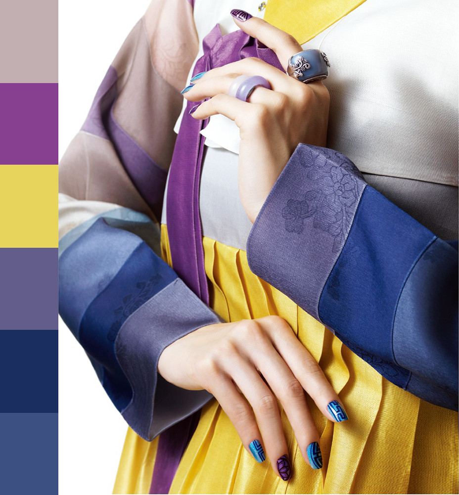 A combination of Purple, Blue and Yellow