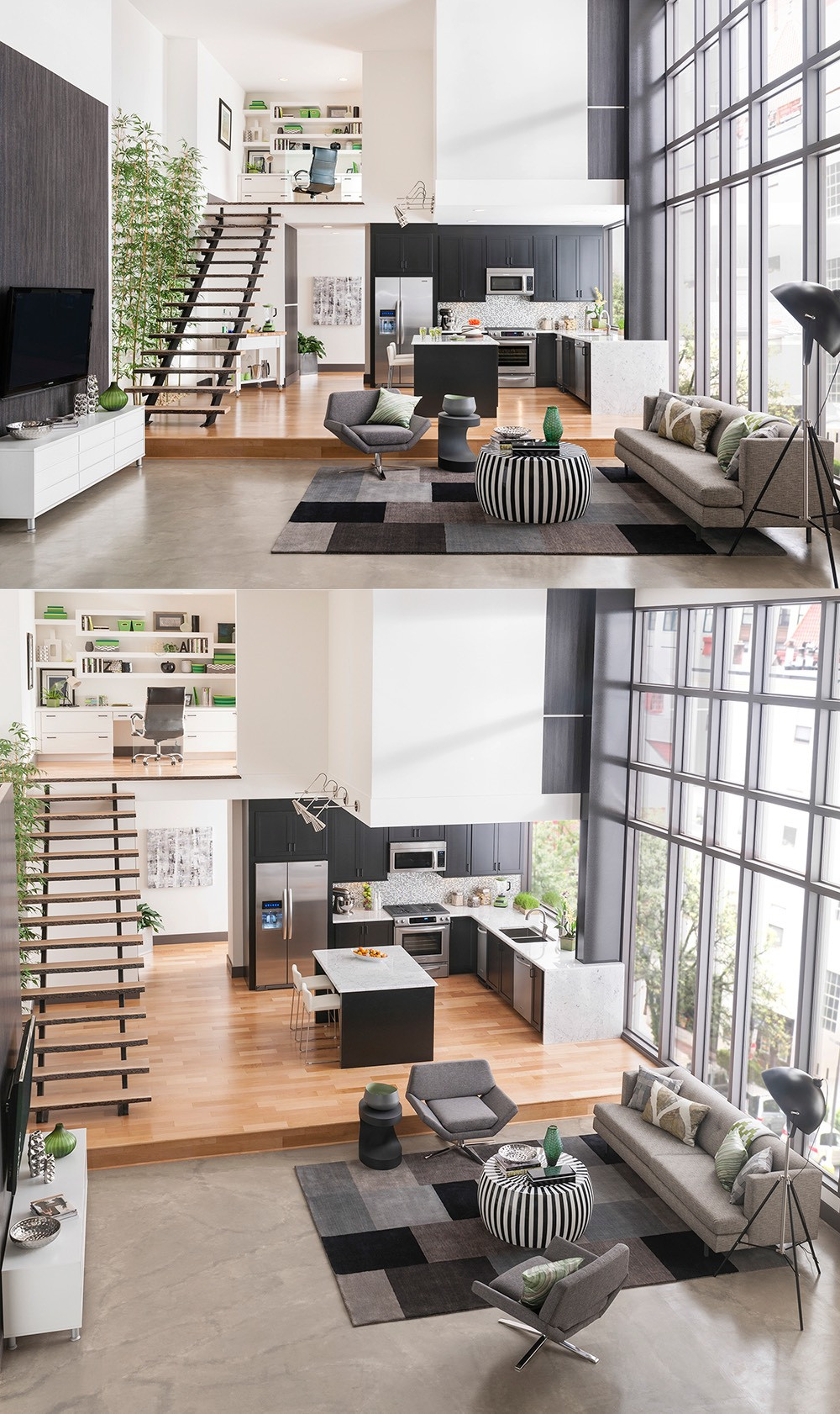 When creating an interior, you need to think of the house as a single whole space, consisting of separate rooms, interconnected by halls and staircases. Therefore, it is natural that the general style and idea extend to the whole house. This does not mean that all interior design elements should be the same. They should be combined and complementary to each other to enhance the whole composition .