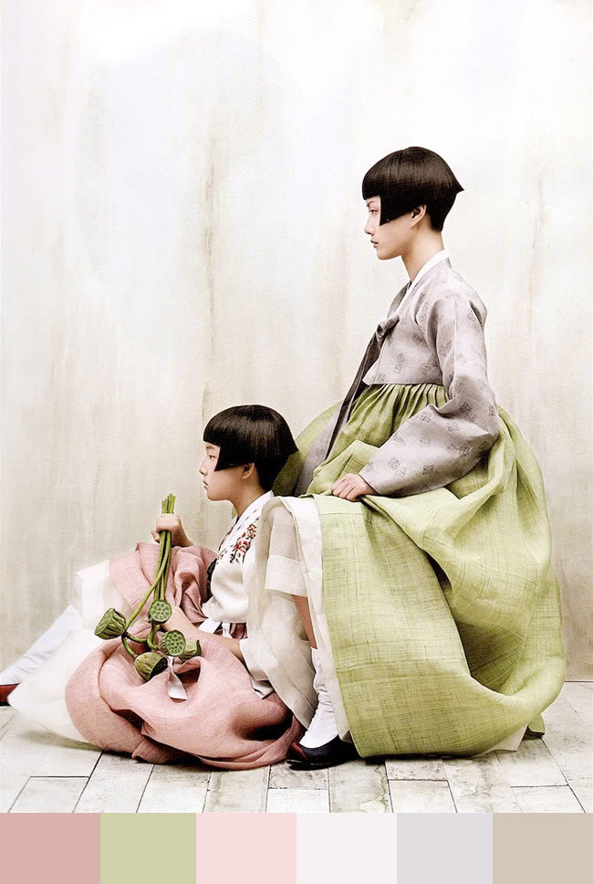 Perfection, sharp, geometric forms of haircut on dark hair, is combined with light, blurred forms of wide skirts.