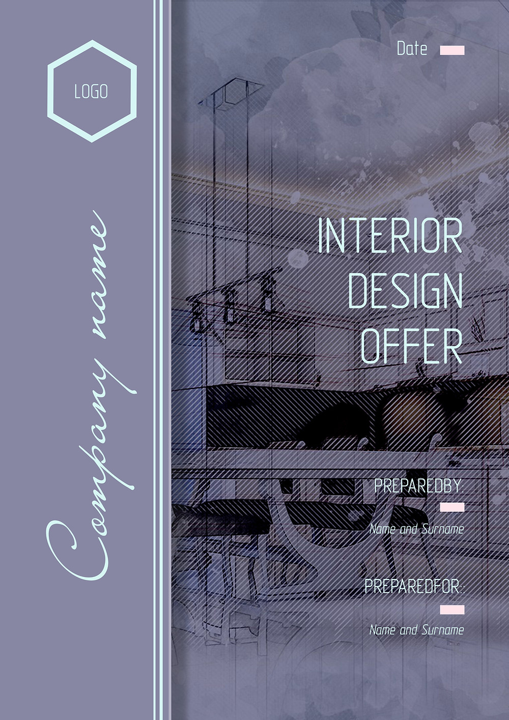 "Proposta commerciale per il design dello studio di interior design ""Interior and Style"". Modello di 8 pagine in estensione PDF modificabile"