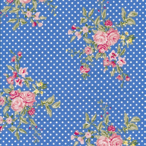 Au Maison - Voksduk metervare bomull flora french blue