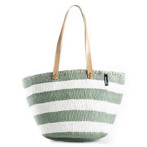 Mifuko - Kindo shopper veske M lys grønn striper
