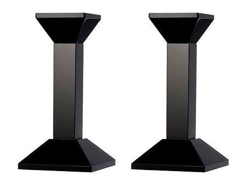 Lyngby - Lysestaker sort krystall 16cm 2pk
