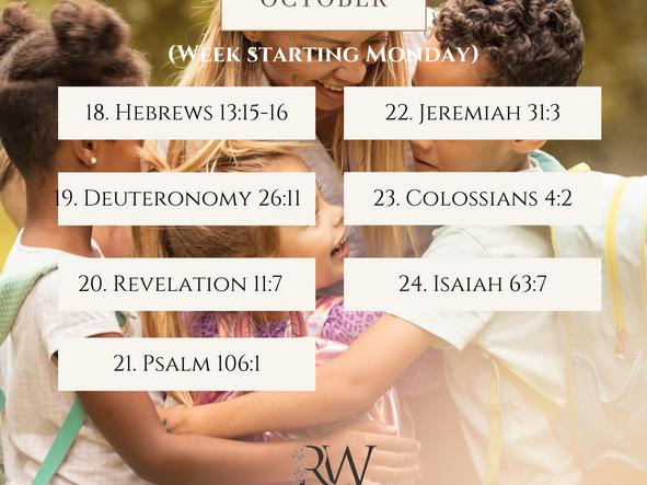 Bible Reading Plan - 18 to 24 October 2021