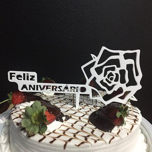 Enfeite de bolo - Feliz Aniversário