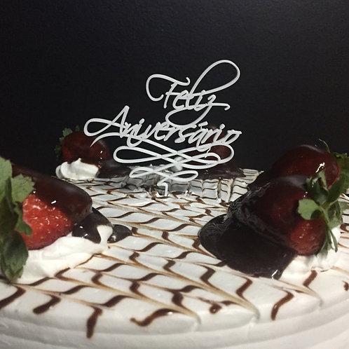 Enfeite de bolo P - Feliz Aniversário