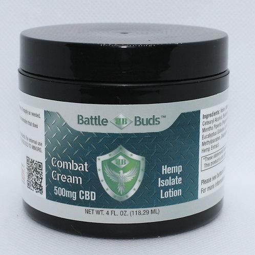 BattleBuds Combat Cream 500mg CBD Isolate 4oz 0% THC