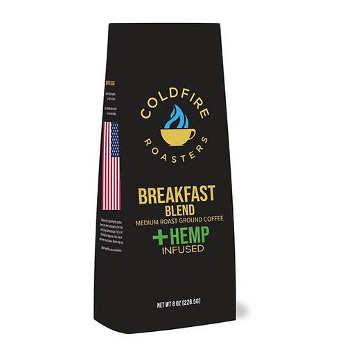 Hemp-infused Breakfast Blend 8oz Ground Coffee / (220mg) Nano Hemp