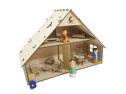 Traditional Doll House with furniture and Dolls