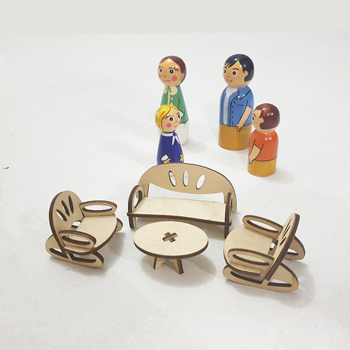 Doll House Furniture with Dolls