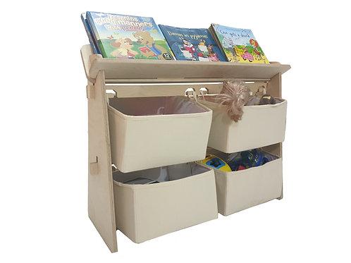 Toy Organiser with Bookshelf - Cotton Canvas