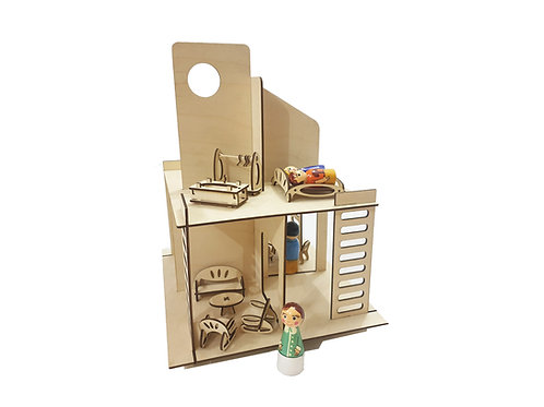 Modern Doll House with furniture and Dolls