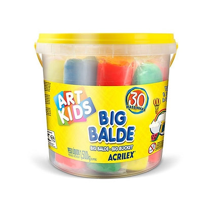 Massinha Big balde com 30 massinhas sortidas - Art Kids - 40023 - Acrilex