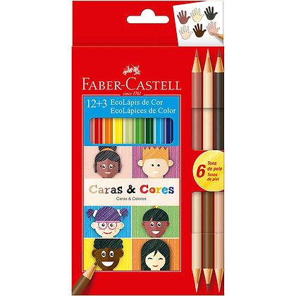 Lápis de Cor 12 Cores + 3 Caras e Cores Faber Castell