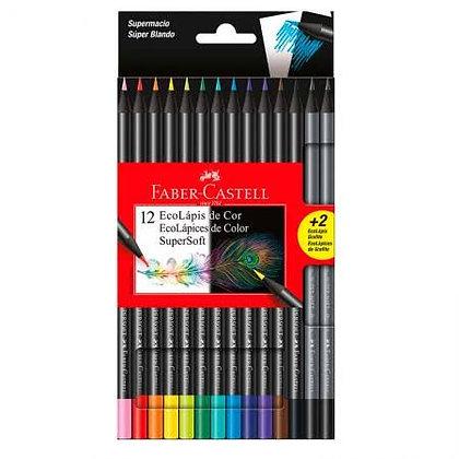 Lápis de Cor Super Soft 12 Cores + 2 Eco Lápis Grafite Faber-Castell