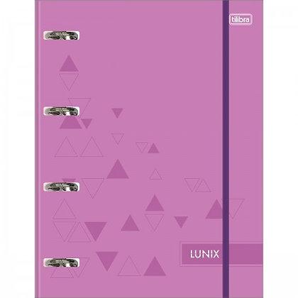 Caderno Argolado Universitário Cartonado com Elástico Lunix Roxo 80 Folhas