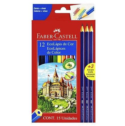 Lápis de cor 12 Ecolápis + 3 Ecolápis Grafite Faber-Castell