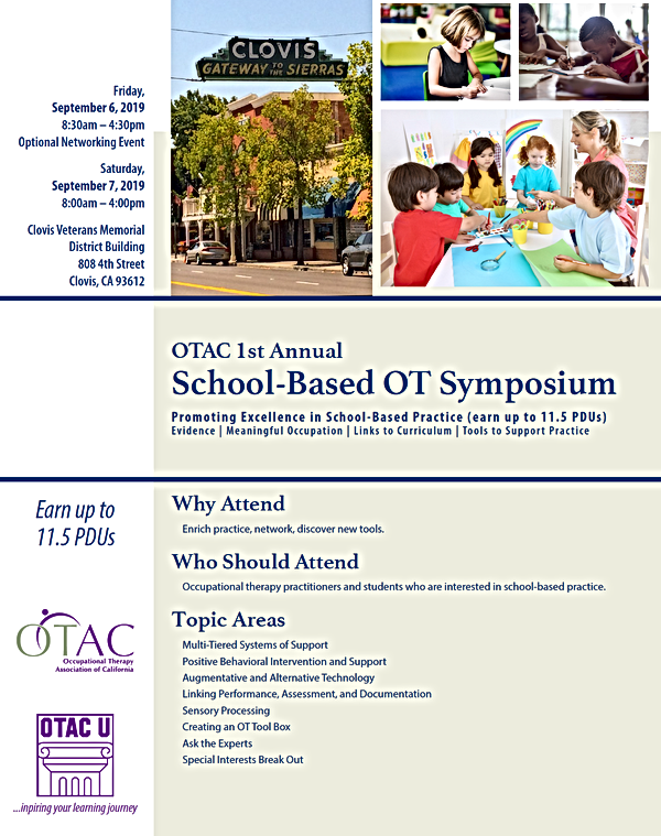OTAC School Based OT Symposium Sept 6-7.