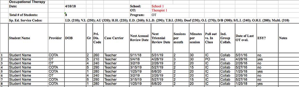School Site Sheet