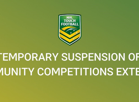 Temporary suspension of community Touch Football competitions extended