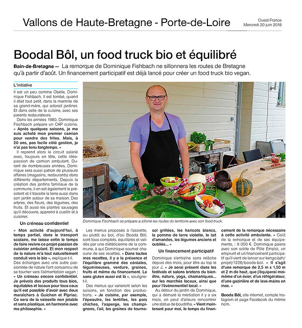 Article de presse Booda Bol, un food truck bio et équilibré