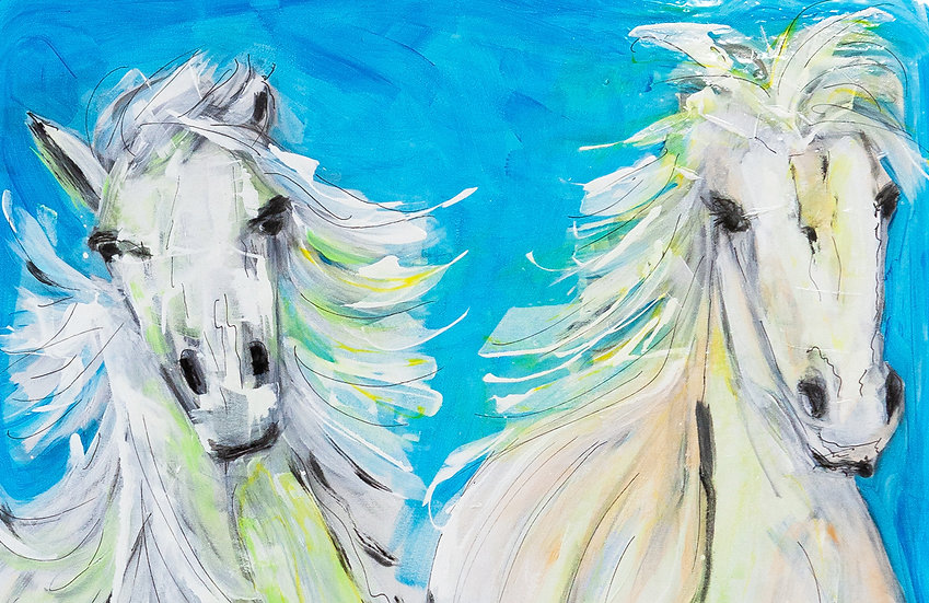 TWO HORSES LIGHT BLUE