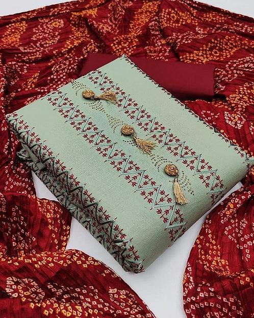 Unstitched Cotton Slub Sequined Dress Material Suit For Women