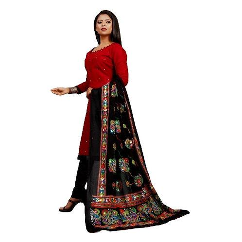 Cotton Slub Aari Work  Unstitched Dress Material Suit For women